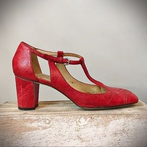 Square Toe Block Heel Red Leather T Strap Shoes